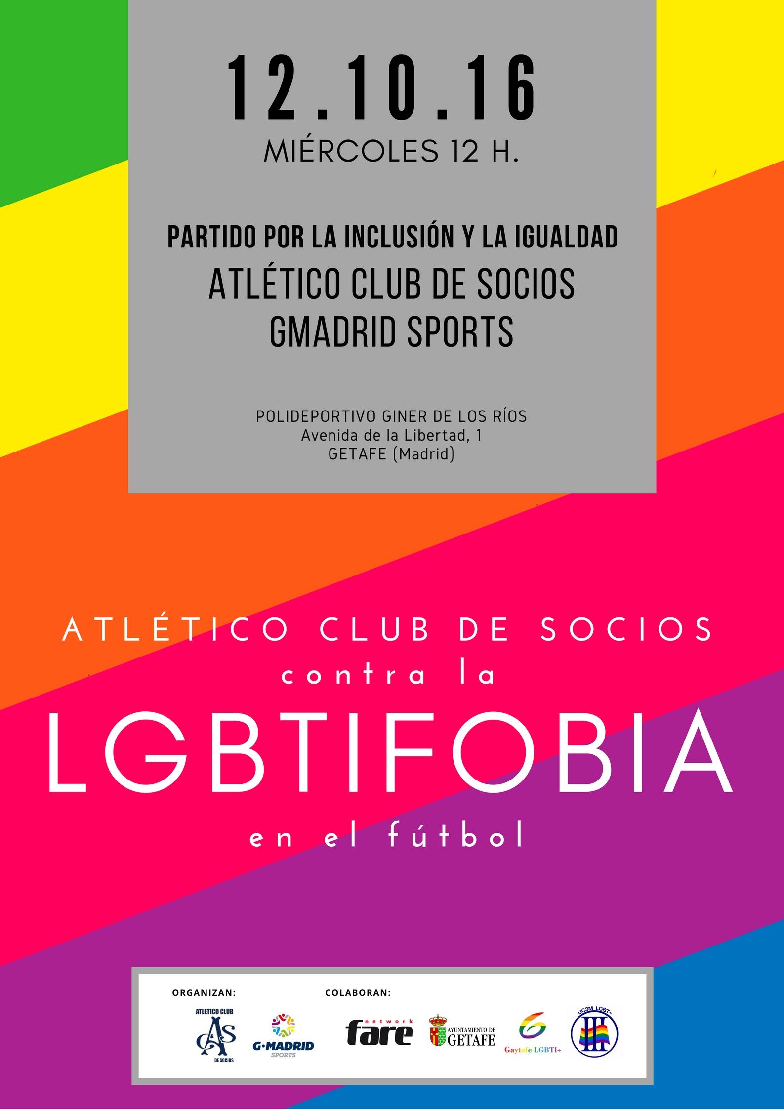 """""""Socios contra la LGBTIFobia"""", un partido por la inclusión y la igualdad en Getafe"""